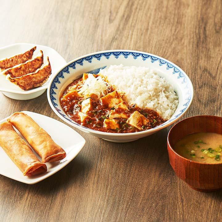 マーラー飯定食セット (マーラー飯250+餃子3ケ+春巻き2本+みそ汁)
