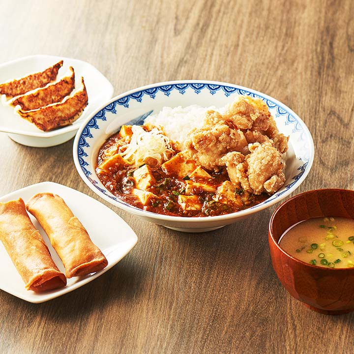 唐揚げマーラー飯定食セット (マーラー飯250+唐揚げ3ケ+餃子3ケ+春巻き2本+みそ汁)