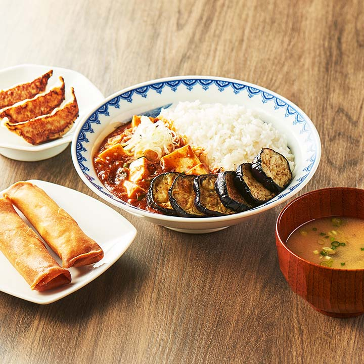 揚げナスマーラー飯定食セット (マーラー飯250+餃子3ケ+春巻き2本+みそ汁) 揚げナス