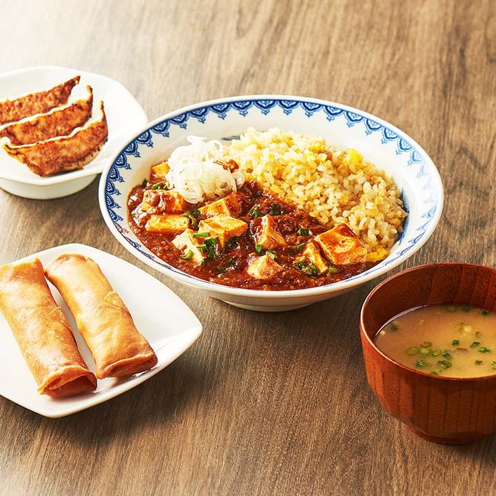 マーラーチャーハン定食セット (マーラーチャーハン250+餃子3ケ+春巻き2本+みそ汁)