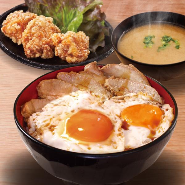 焼豚玉子飯 肉ダブル(唐揚3個+みそ汁)セット