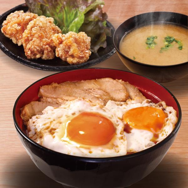 焼豚玉子飯(唐揚3個+みそ汁)セット