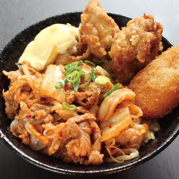 豚キムチ丼(400)(唐揚2+コロッケ1)